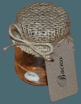 Стъклено Бурканче Декорирано със Зебло и Коноп