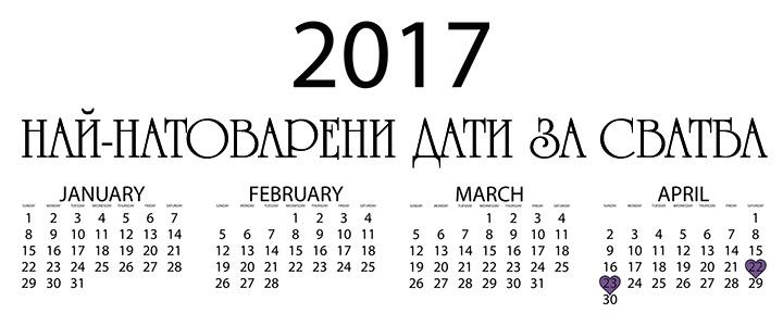 Подходящи Дати за Сватба през 2017