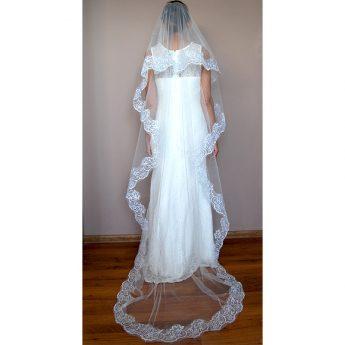 евтин дълъг воал за сватба с дантела