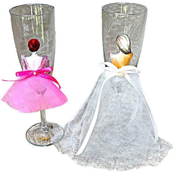 чаши за моминско парти с тюл
