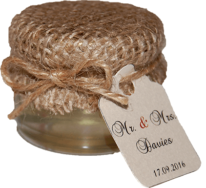 мед за еко сватба с украса от зебло