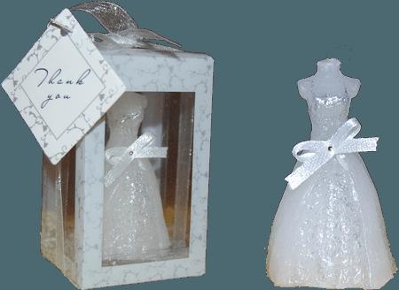 сватбена свещ във формата на булчинска рокля