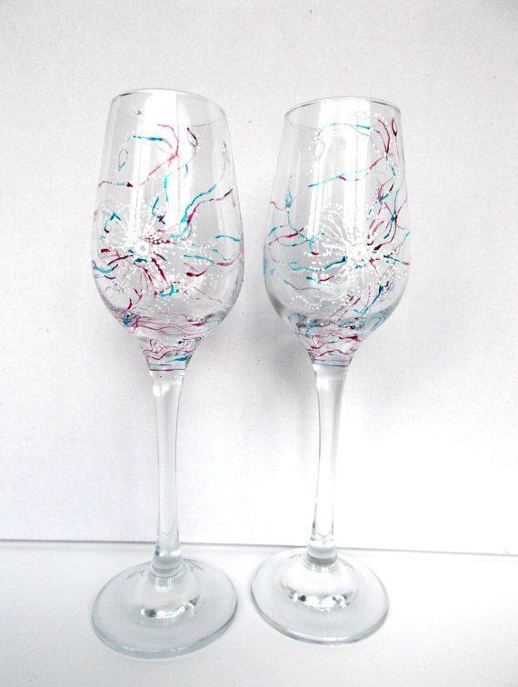 елегантни рисувани сватбени чаши във варна