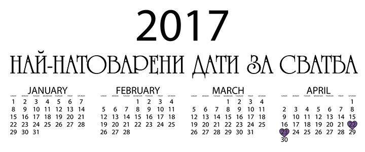 подходящи месеци за сватба 2017